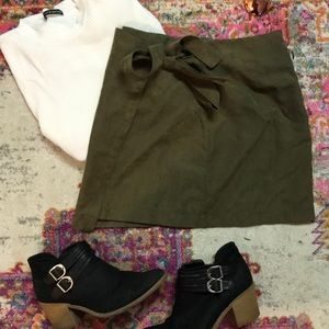 Army Green Suede Front Tie Skirt